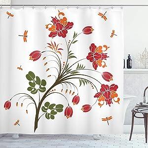"Ambesonne Dragonfly Shower Curtain, Flourishing Vivid Blossom Illustration Little Dragonflies Habitat Image, Cloth Fabric Bathroom Decor Set with Hooks, 70"" Long, Olive Green"