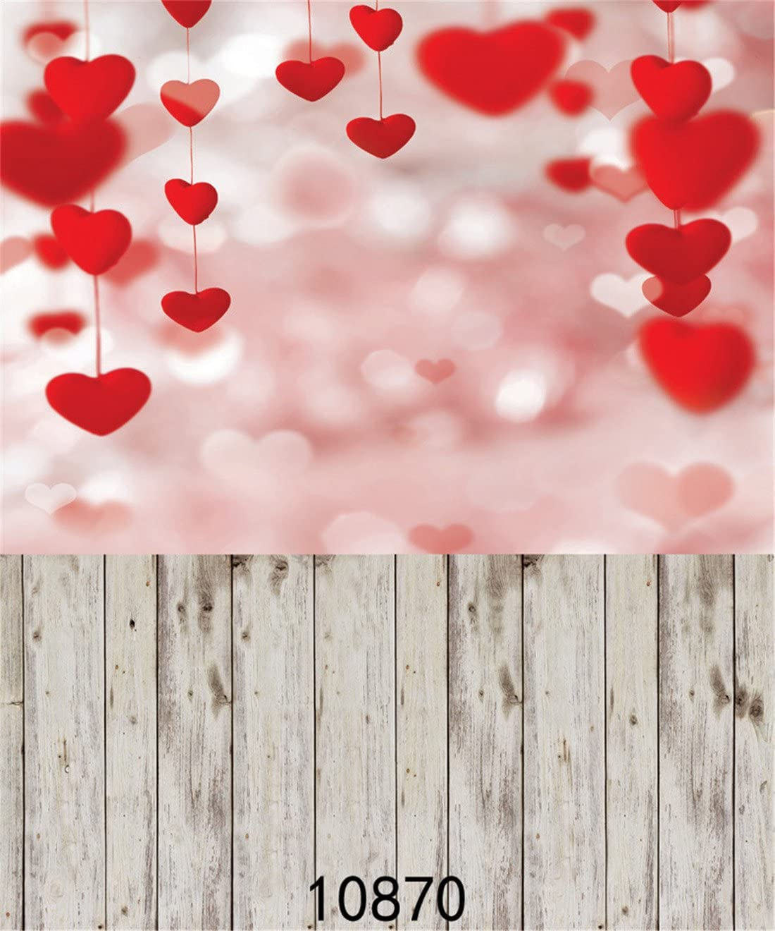 4X6FT-Red Heart Shape Pattern Photography Backdrop Wood Product Wedding Background for Photo Studio