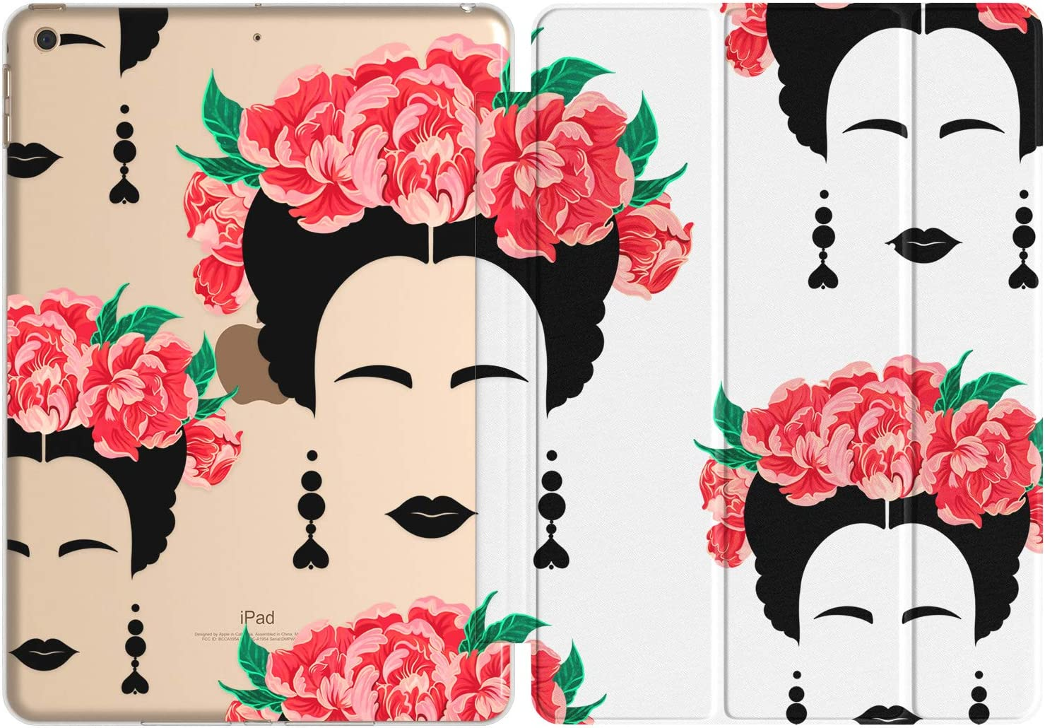 Vonna Case Replacement for Apple iPad Air 4th Gen 2020 12.9 Pro 10.2 8th 11 10.5 9.7 Mini 5/4/3/2/1 Flowers Slim Mexican Cute Closure Woman Print Red Art Skull Stand Design Magnetic Trendy vm592
