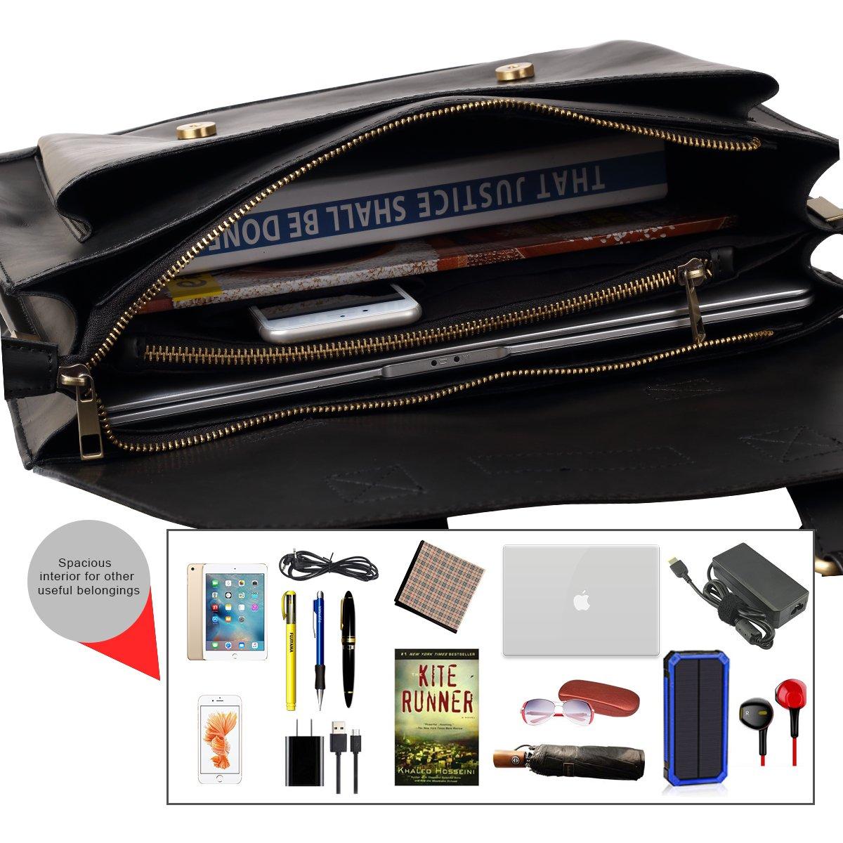JAKAGO 14.6 Inch Vintage PU Leather Briefcase Laptop Shoulder Messenger Bag Tote School Distressed Bag for Women and Men by JAKAGO (Image #5)