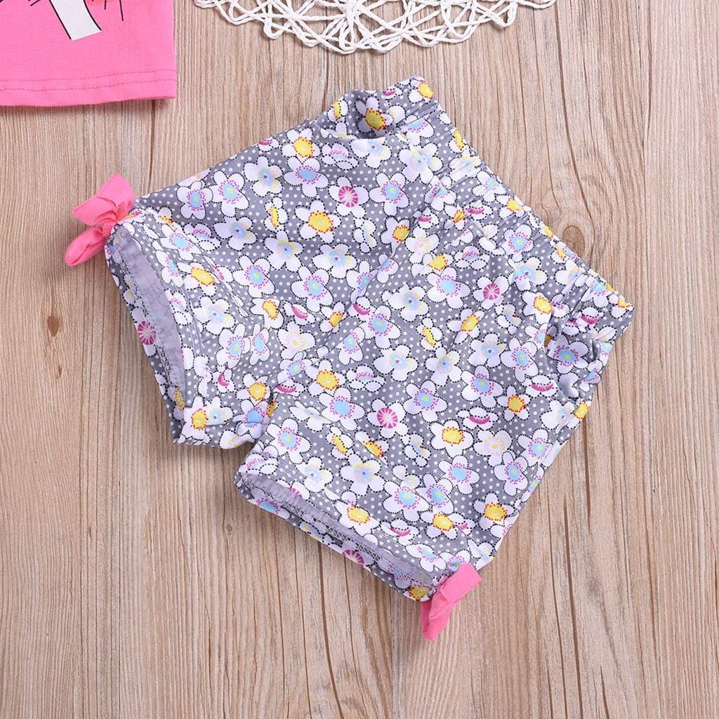 Sagton Toddler Baby Kids Girl Cartoon Printed Sleeveless Tops+Floral Shorts Outfits Set