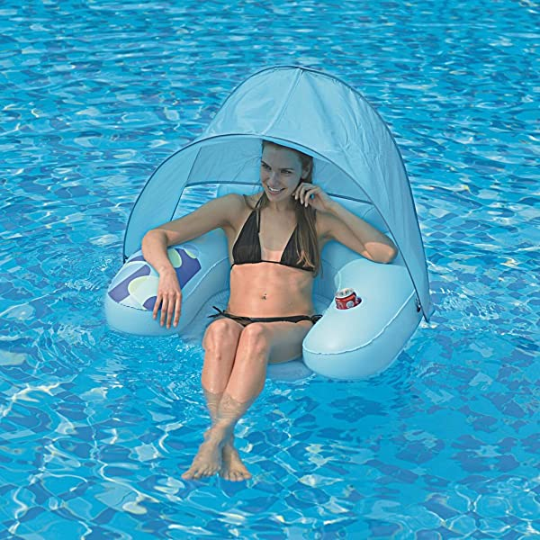 Jilong Inflatable Pool Float Chair with Canopy, Light Blue, 40.5