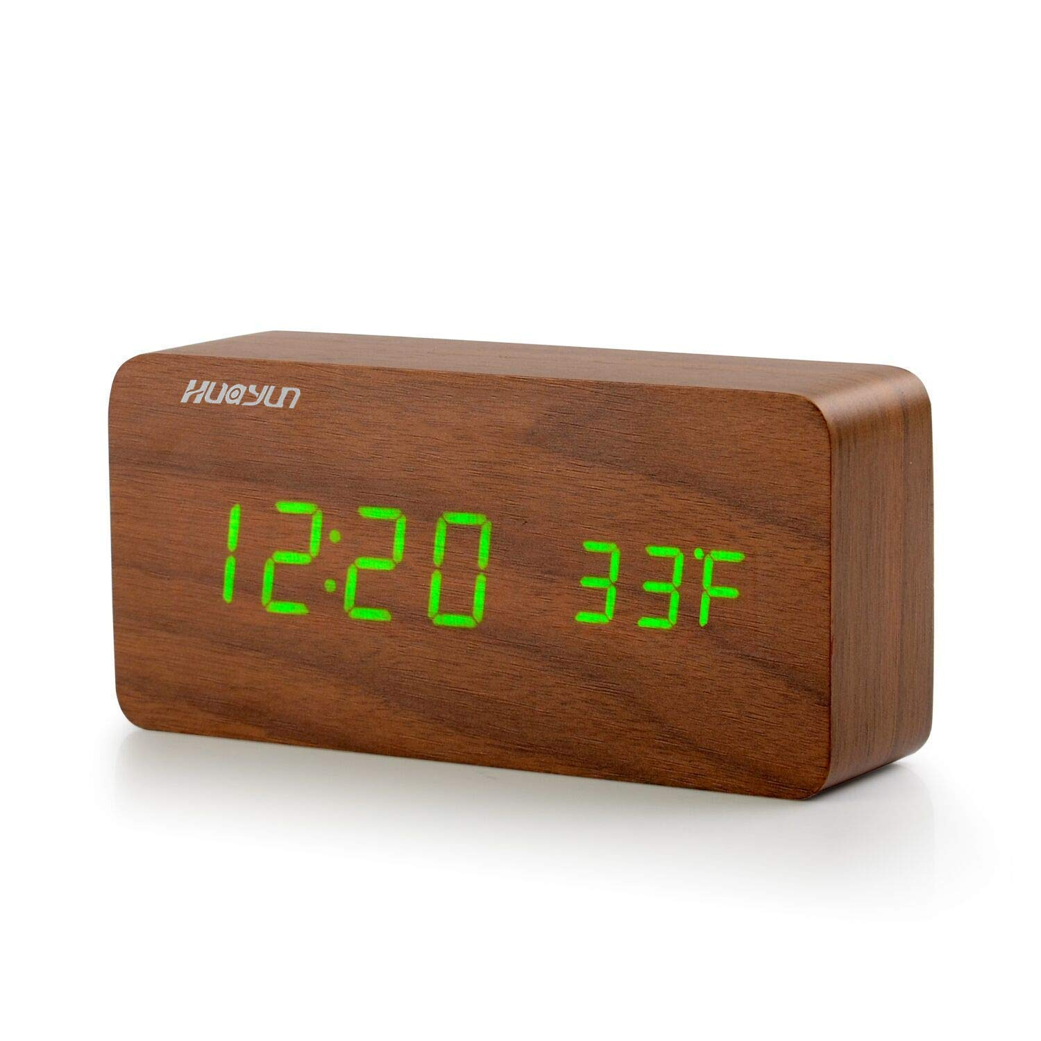 HUAYUN Wood Alarm Clock,Digital Clocks for Bedroom - Desk Clock Office,USB Charging,Date and Temperature Display,3 Set of Alarm and 3-Level Green LED,Voice Control