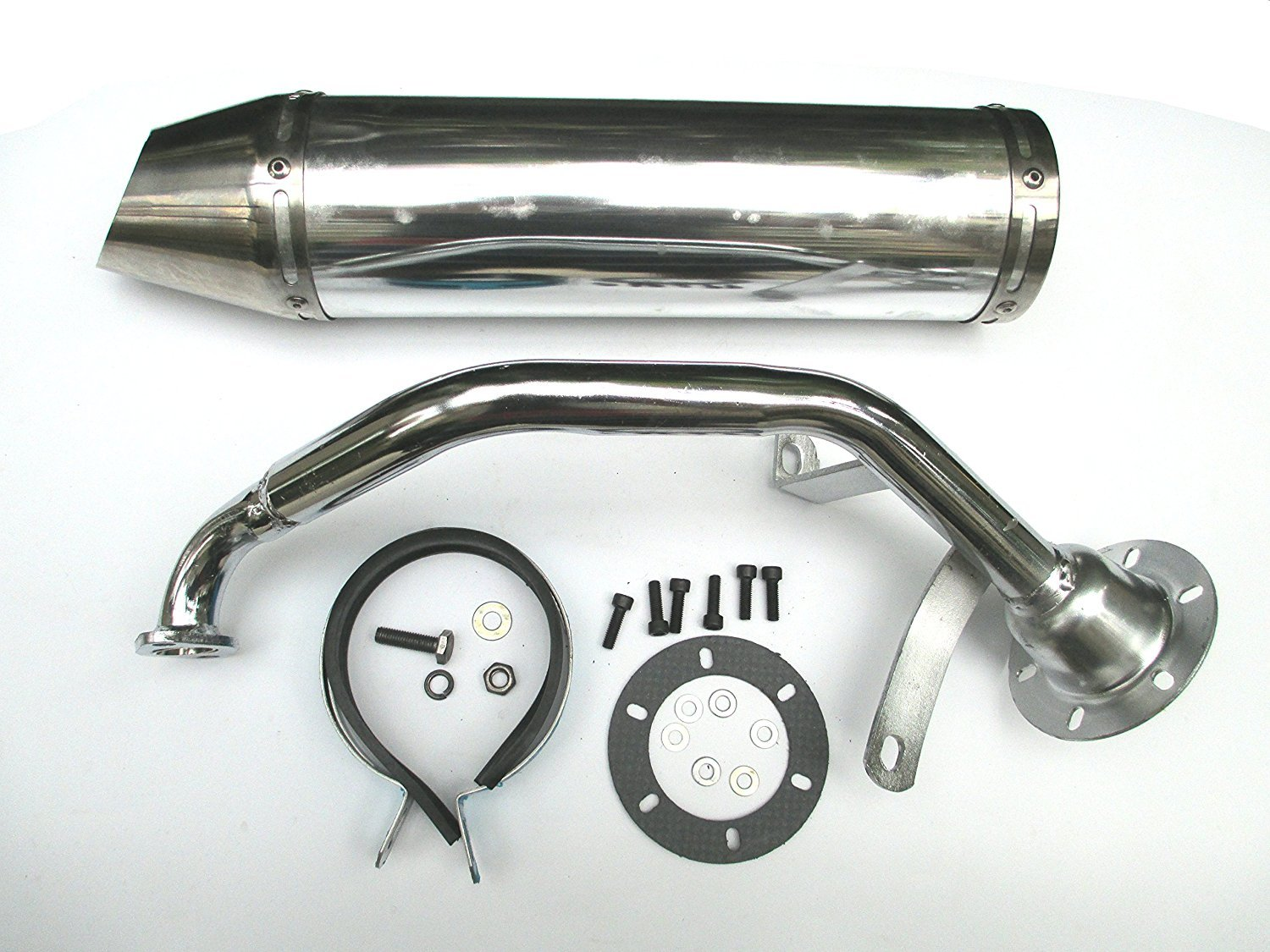 High Performance Exhaust System Muffler for GY6 139QMB QMB139 1P39QMB 4 Stroke 150cc Scooters Silver