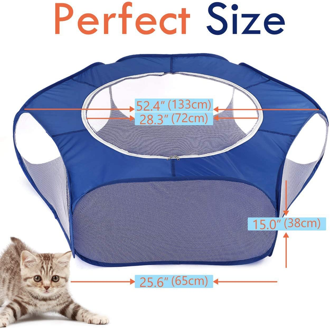 Vaorwne Small Animals Playpen Breathable /& Waterproof Small Pet Cage Tent with Zippered Cover Portable Outdoor Yard Fence