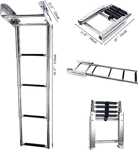 FreeTec 4 Pasos Escalera Telescópica de Embarque de Embarcaciones de Acero Inoxidable con Plataforma Deslizante: Amazon.es: Deportes y aire libre