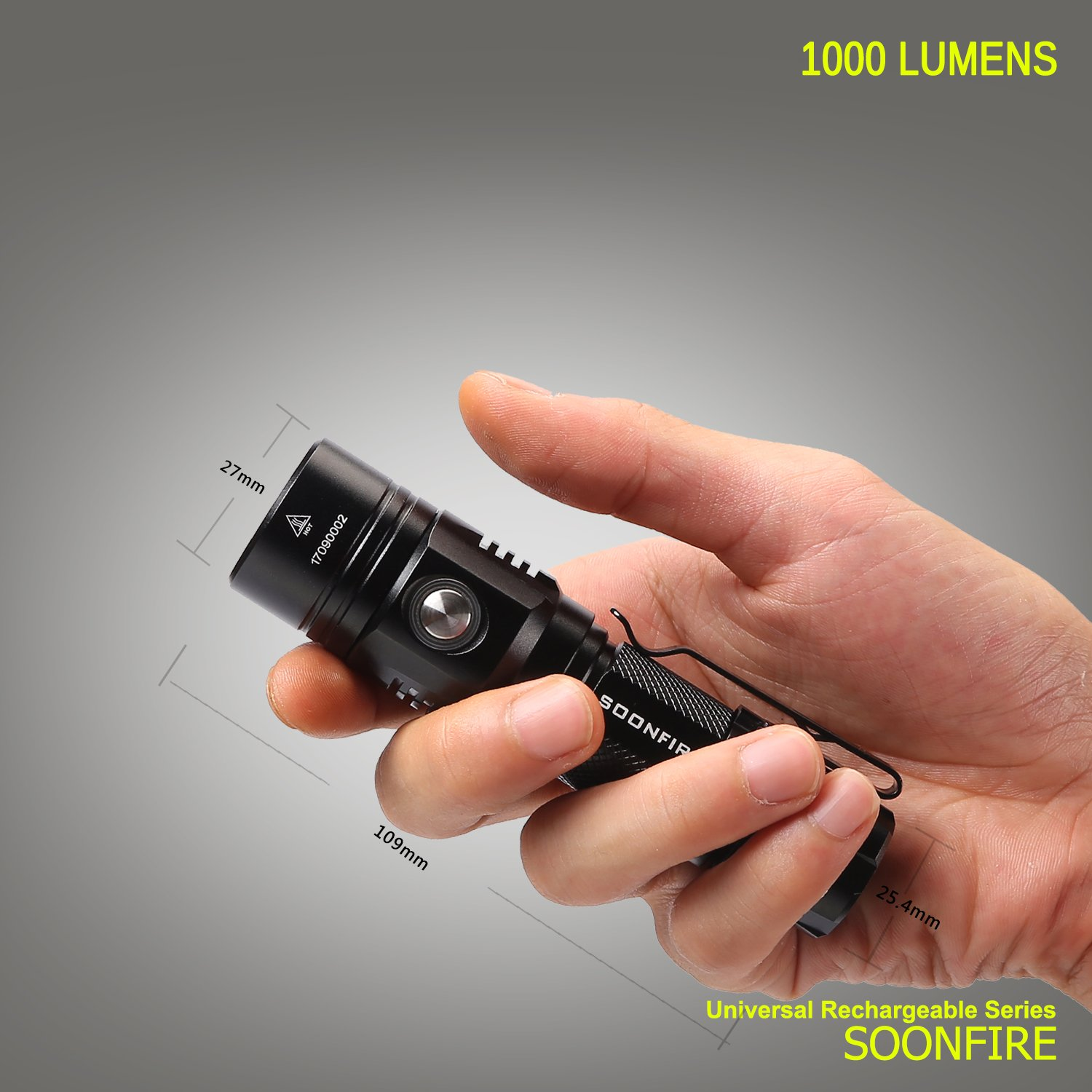 Cree XP-L LED Rechargeable Flashlight,Soonfire E07 USB Waterproof 1000 Lumen Compact EDC Flashlight with type 18650 3400mAh rechargeable Li-ion battery by soonfire (Image #8)