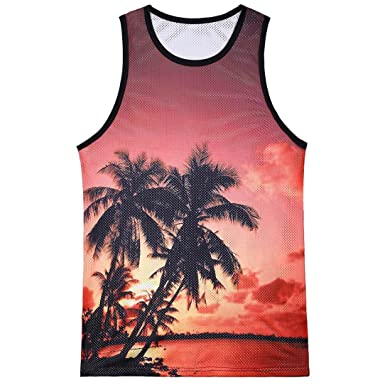 a1f52f207 Easytoy Fashion Men's Casual Tropical Hawaiian Scenery Breathable Slim  Sleeveless Tank Top Blouse ...