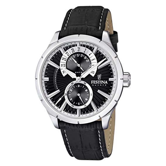 Festina F16573/3 - Reloj analógico de cuarzo para hombre con correa de piel, color negro: Festina: Amazon.es: Relojes