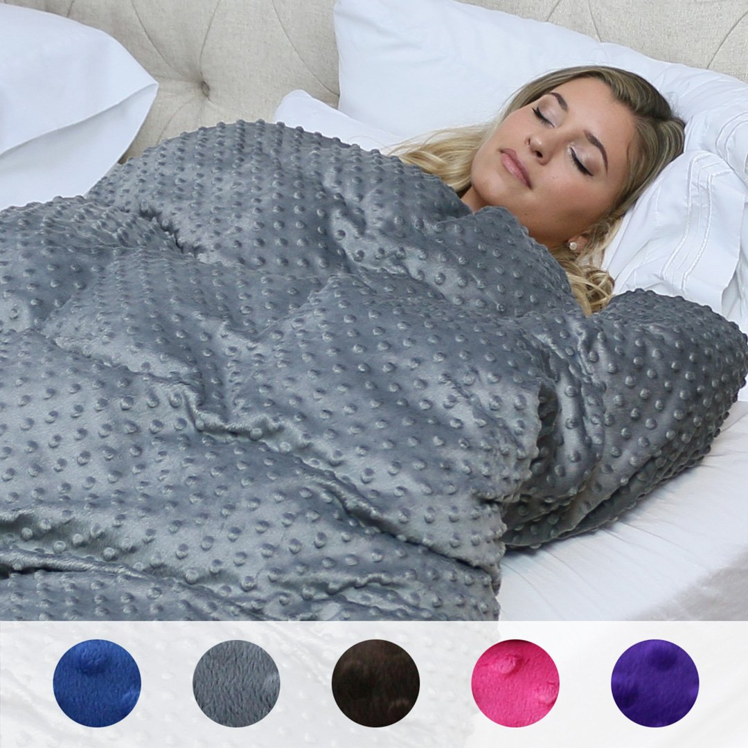 15 lbs Huggaroo Weighted Blanket (Extra Fluffy, 58 x 80 inches, Dark grey)