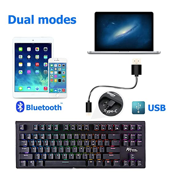 ... Bluetooth 3.0 /USB Wired Multi-Media Mechanical Gaming Keyboard PC/iPad/Smartphone/Laptop (Rechargeable Battery) Red Switch: Computers & Accessories