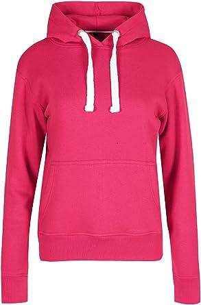 Womens Hooded Sweatshirt Long Sleeves Hoody Top Ladies Draw Strings Cuffed Top