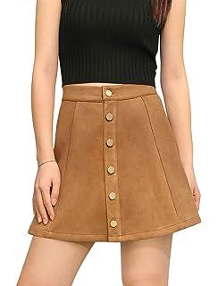 Allegra K Mujer Mini Falda Cierre de Botones Cintura de Talle Medio A-Line - a51f314d3e6b
