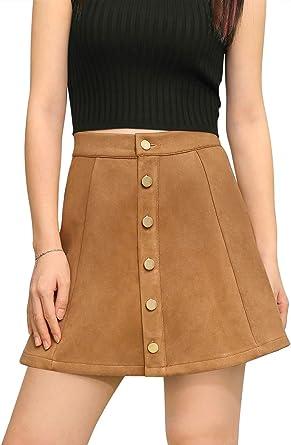Allegra K Mujer Mini Falda Cierre de Botones Cintura de Talle ...