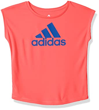 d1533491b adidas Girls' Big Short Sleeve Graphic Tee Shirts, Flash Red, Small