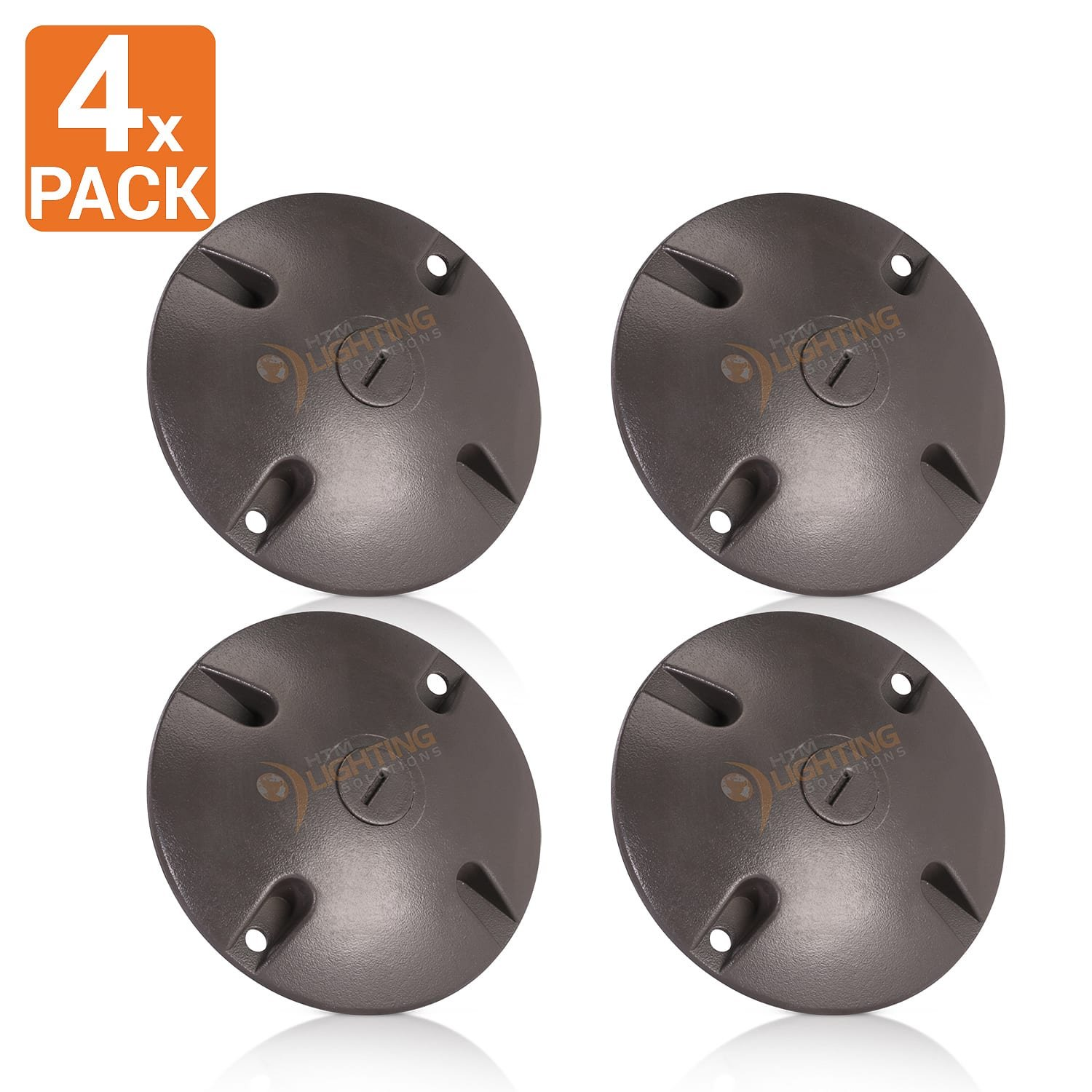 4 in. Round Weatherproof Electrical Junction Box Cover with 1/2 in. NPT Thread Outlet for Indoor/Outdoor Use – Landscape Accessories – Bronze (4-Pack) by HTM Lighting Solutions