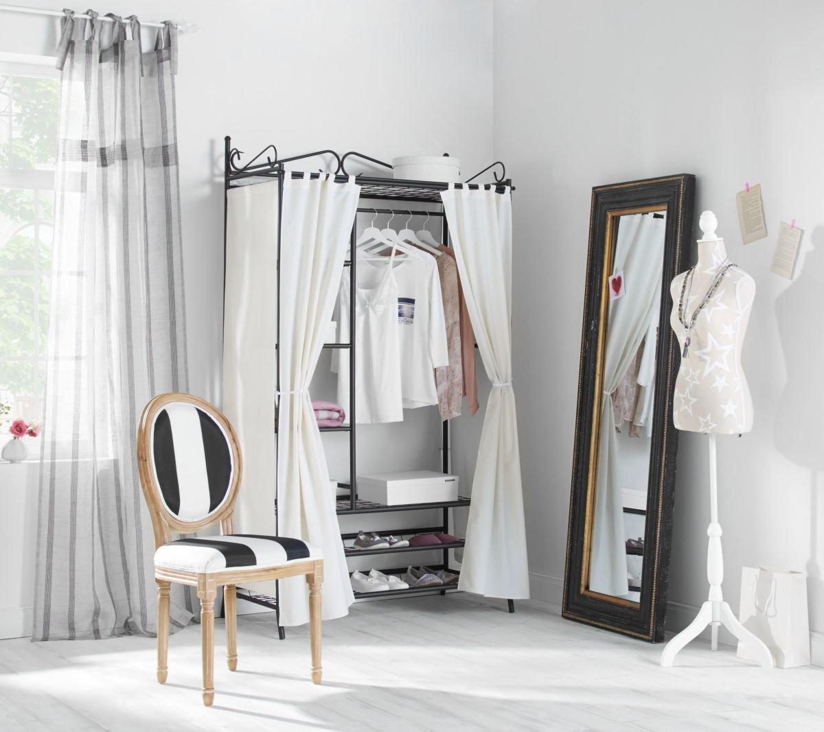 Kleiderschrank Metall schwarz mit hochwertigem Vorhang aus ...