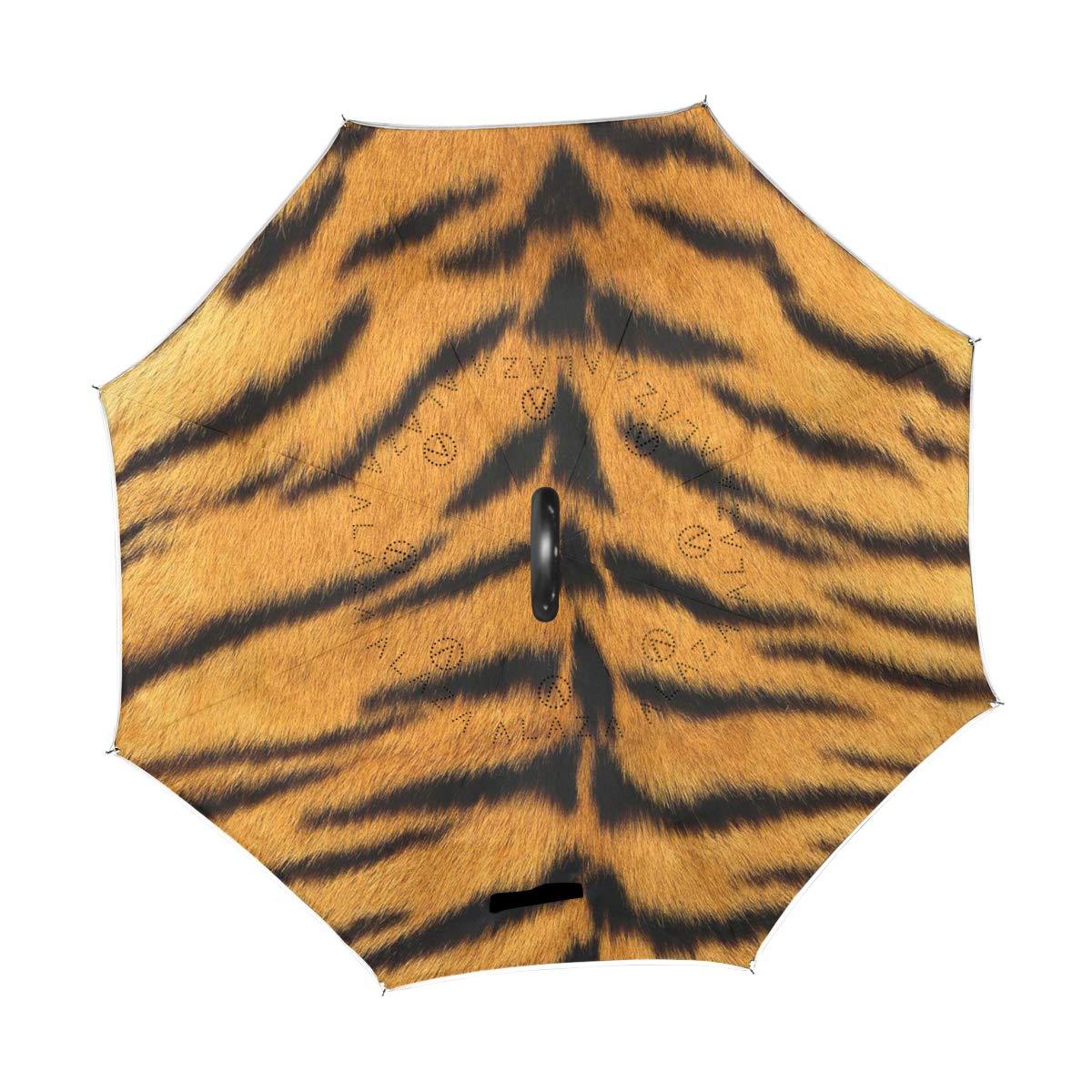 MALPLENA Tiger Fur Patrón Auto Open Paraguas Abierto Abierto Parte Abajo Reverso Inverso Paraguas para Mujer/Hombre/Coche/Lluvia Exterior Impermeable ...