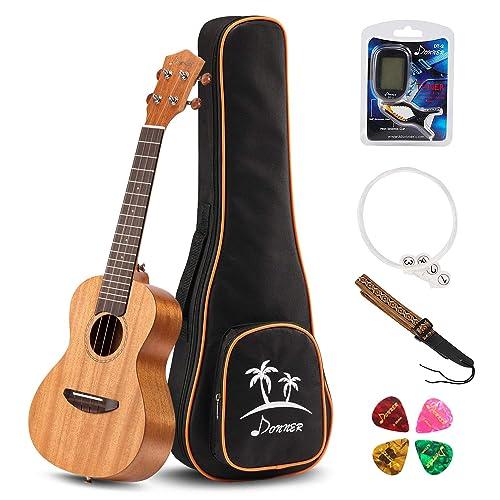 Donner Tenor Ukulele Mahogany Body DUT-1 26 inch Ukulele Kit with Tuner Strap String Case