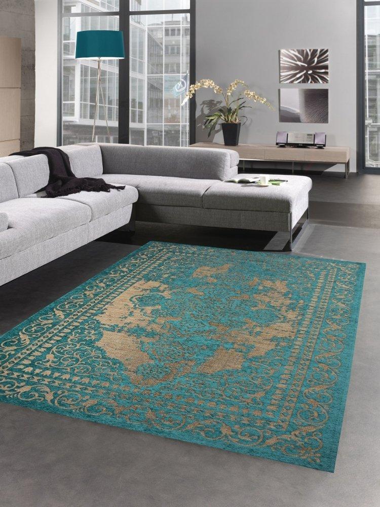 Carpetia Moderner Teppich Wohnzimmerteppich Kelim Orient türkis Gold Größe 80 x 250 cm