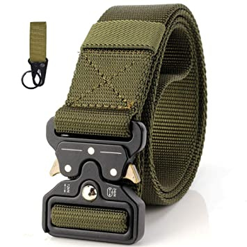 OUTANG Cinturón Hombre de Nylon Tactic Cinturón Estilo Militar Cinturones tácticos Militares de Cobra duraderos Hebilla de Metal Ajustable: Amazon.es: Hogar