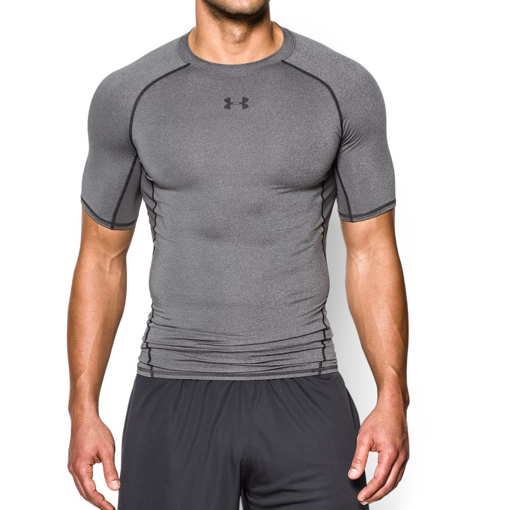 Under Armour mens HeatGear Armour Short Sleeve Compression T-Shirt, Carbon Heather (090)/Black, Medium