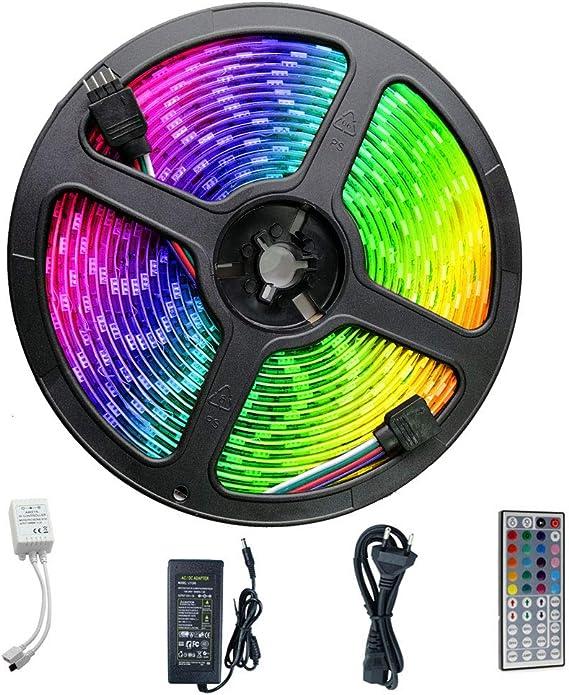 XUENUO RGB 5m Tira Led 5050 Waterproof, 300 LED Cutable Epoxy A Prueba De Agua Bajo Calor Baja Potencia Rendimiento Estable Transformación Bar Decoración: Amazon.es: Hogar
