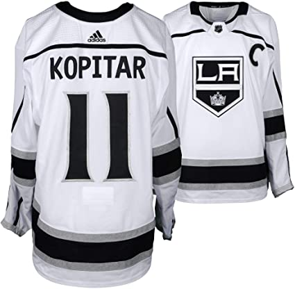 new products 2ce8e e6b8a Anze Kopitar Los Angeles Kings Game-Used #11 White Jersey ...