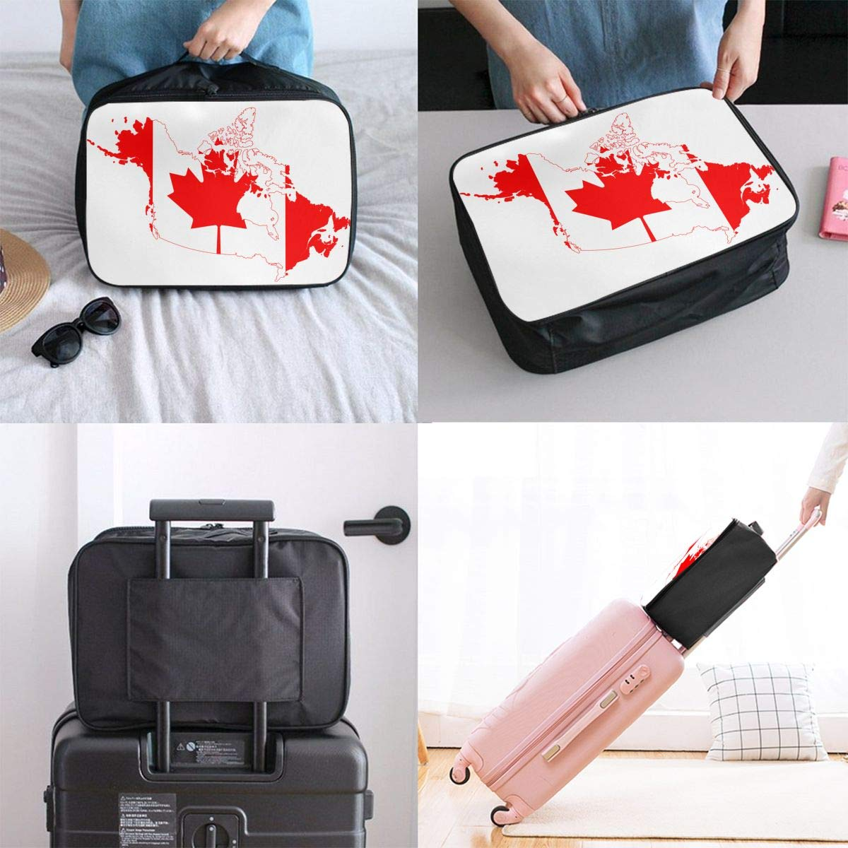 YueLJB Canada Country Outline Lightweight Large Capacity Portable Luggage Bag Travel Duffel Bag Storage Carry Luggage Duffle Tote Bag
