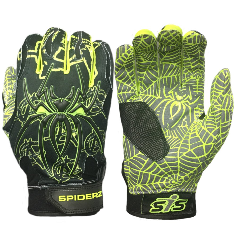 Spiderz大人用ハイブリッドバッティンググローブシリコンWeb Palm B076CSPXWR Adult Medium|Awakening/Volt Yellow Awakening/Volt Yellow Adult Medium
