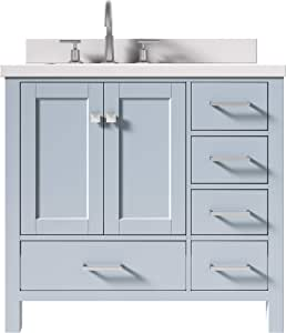 "ARIEL Bathroom Vanity 37"" Inch in Grey with Pure White ..."