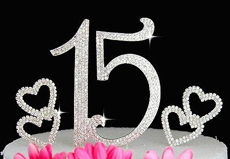 Grande Real Rhinestone Numero 15 Cumpleanos Quinceanera Aniversario