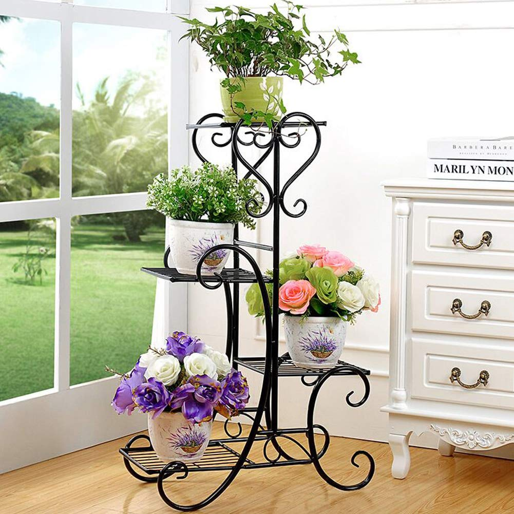 Plant Stand Metal Flower Holder Pot with 4 Tier Garden Decoration Display Wrought Iron 4 Layers Planter Rack Shelf Organizer for Garden Home Office Black by ZGXY