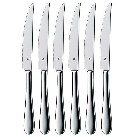 WMF Steak Juego 6 Cuchillos para Carne, Acero Inoxidable Pulido, 6 Piezas