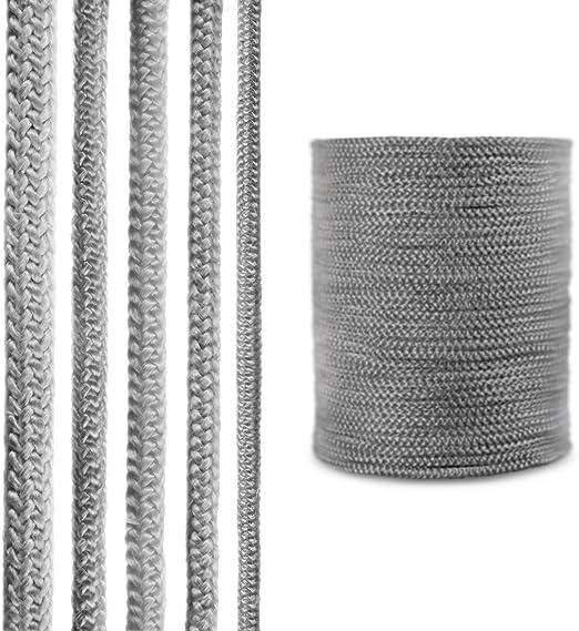R/ésistante aux Temp/ératures jusqu/à 550/°C. 6 mm STEIGNER Corde d/Étanch/éit/é en Fibre de Verre SKD02-6 2 m Gris Fonc/é avec Adh/ésif de Montage Thermique