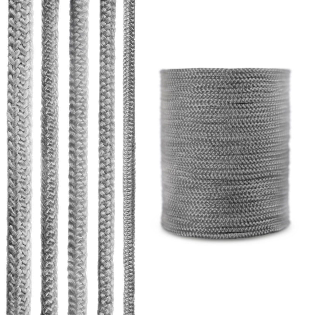 STEIGNER Fiberglass Fireplace Sealing Rope Cord SKD02-6 3 m 6 mm Dark Gray Temperature Resistant Up To 550°C or 1022°F
