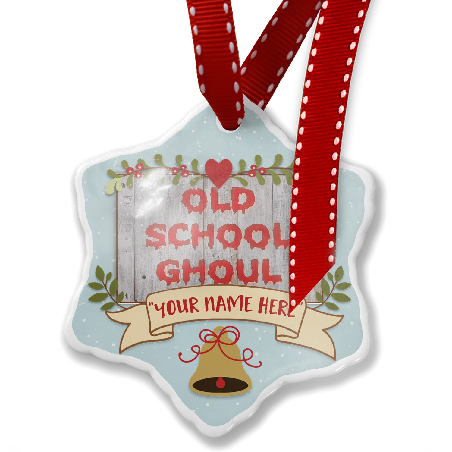 Add Your Own Custom Name, Old School Ghoul Halloween Bloody Wall Christmas Ornament NEONBLOND