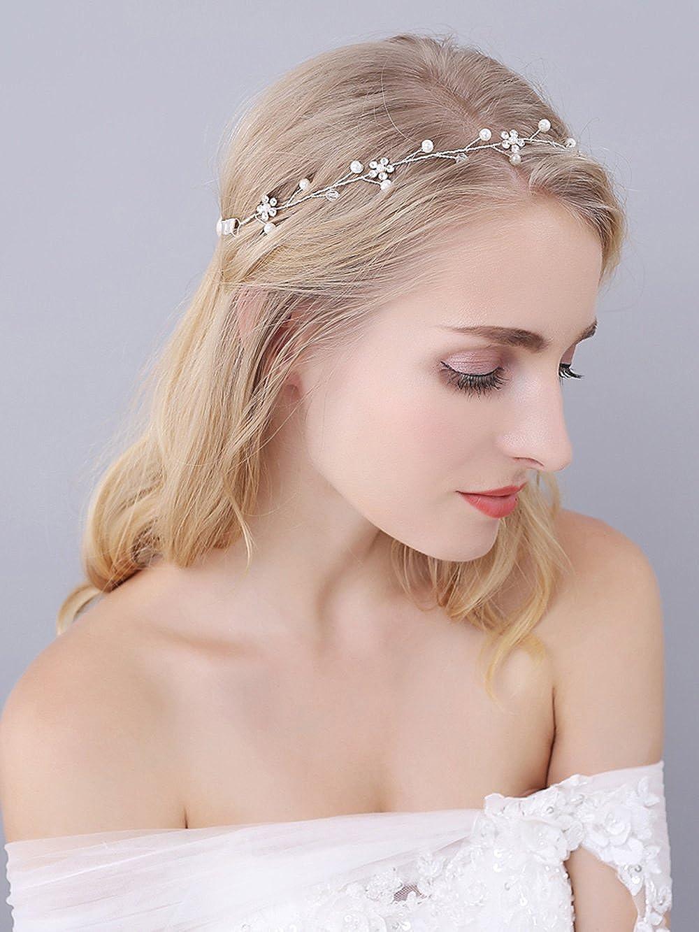 Amazon.com: M Bridal Women\'s Crystal Wedding Headbands Freshwater ...