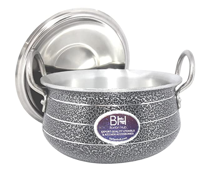 Bartan Hub Cook and Serve Kitchen Handi with Lid  1500ml  Cookware Set  Aluminium, 1   Piece