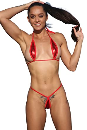 85a45f4983602 Amazon.com  Sassy Assy Metallic Red Extreme Teardrop G-String Bikini-Sexy  Swimwear  Clothing
