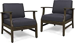 Christopher Knight Home Simona Outdoor Acacia Wood Club Chairs with Cushions (Set of 2), Gray and Dark Gray