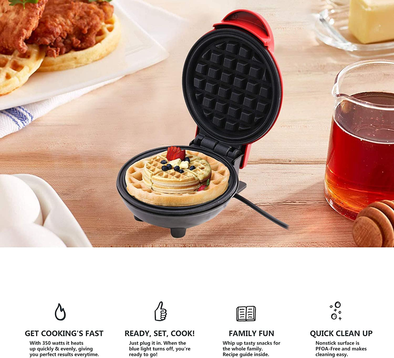 Anywhere for Breakfast Red Paninis LINGDANG Mini Waffle Maker Machine Suitable for Single Waffle Lunch or Snack Potato Pancake and Other Mini Waffle Making Machine Anytime