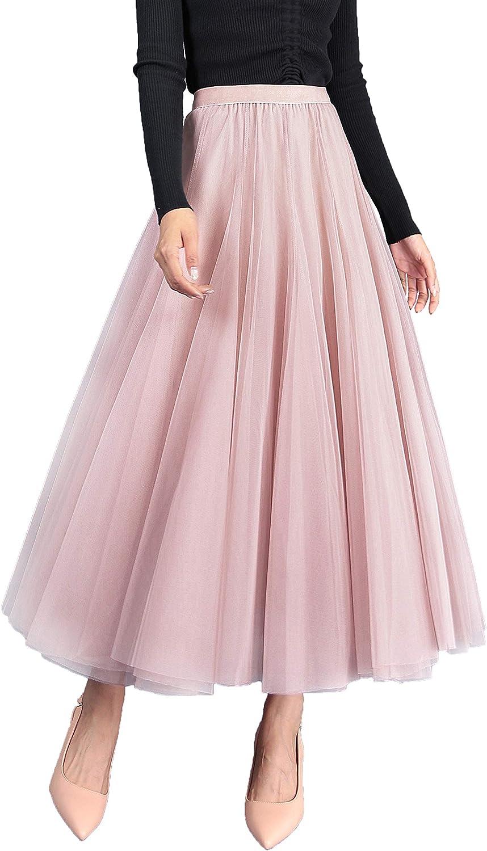 Falda Larga de Tul 3 Capas para Mujer Falda de Tiro Alto con Cintura Elástica Princesa Falda Maxifalda de Tul Must Have - Sólido