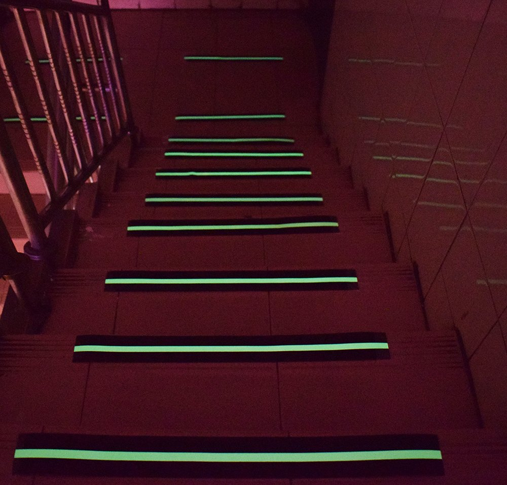 Anti Slip Tape Luminous , Yorwe Glowing in the Dark with Green Fluorescent Strips Safety Track Tape (2''width x 190''long,Luminous) by Yorwe (Image #6)