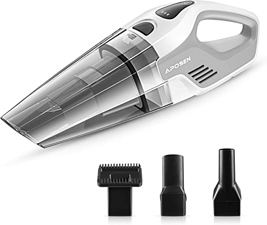 Aposen Aspiradora de Mano con Filtro HEPA de 7 kpa, aspiradora de Mano Seca, 14,8 V de Litio, con tecnología de Carga rápida, Potente succión ciclónica A7-W: Amazon.es: Hogar