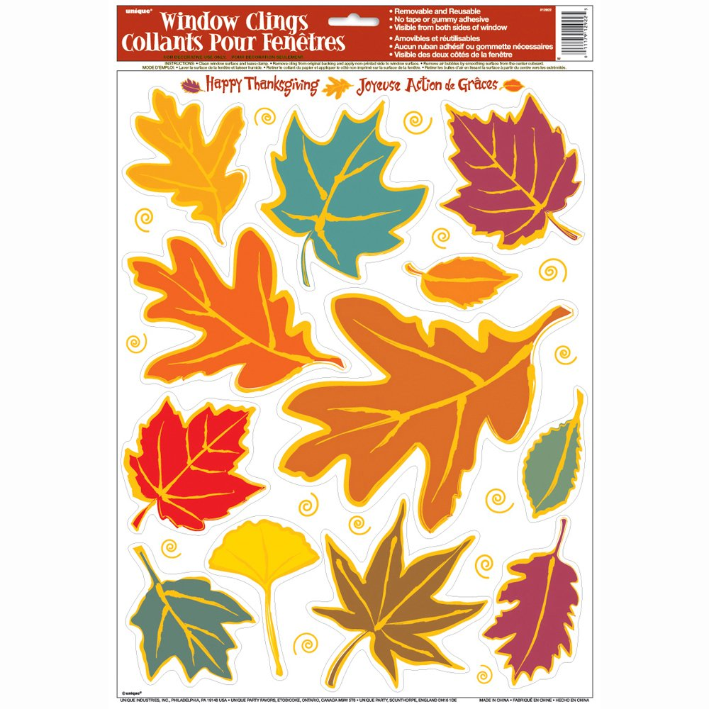 Fall Leaves Window Cling Sheet Unique 12908