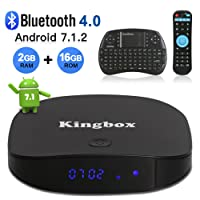 Kingbox Android TV Box, K2 Android 7.1 Box with 2GB RAM 16GB ROM Support Bluetooth 4.0/H.265/4K Ultra HD/3D/2.4GHz WiFi Android Smart TV Box, Free Mini Keyboard [2018 Latest Version]