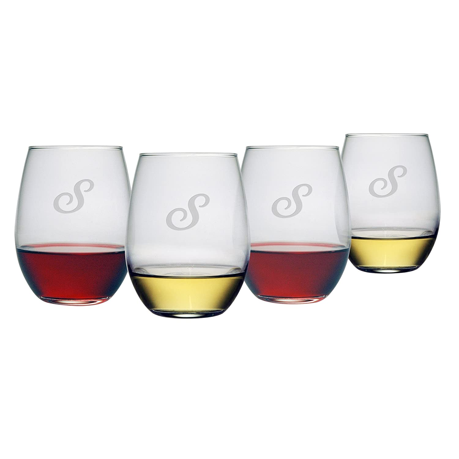 904d7a67ea8 Amazon.com   Susquehanna Glass Monogrammed Stemless Wine Glasses, 21-Ounce,  Initial S, Set of 4: Wine Glasses