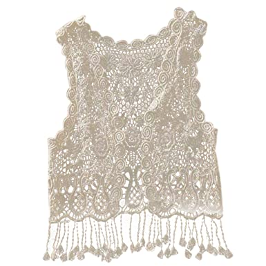 Amazoncom Kid Baby Girls Sleeveless Lace Crochet Hollow Top T