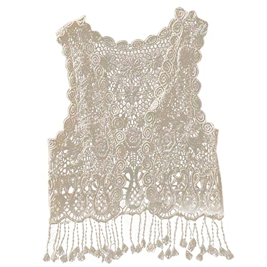 Amazon Baby Girls Crochet Lace Hollow Out Sleeveless Tops